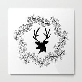 Wintery Deer Metal Print