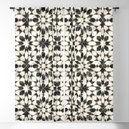 Black and white marble Moroccan mosaic Blackout Curtain