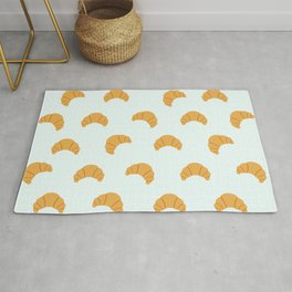 Cute Croissant Print on Blue Background Rug
