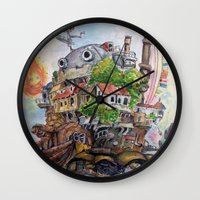 calcifer Wall Clocks featuring Howls Moving Castle Painting 2 by Little Miss Marikit