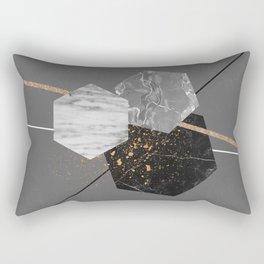 Marble Exagons and Gold Rectangular Pillow