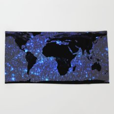World Map : Blue Galaxy Stars Beach Towel