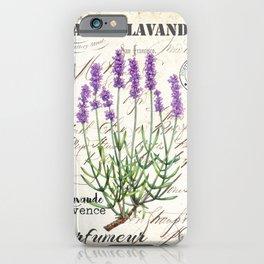 Lavender Antique Rustic Flowers Vintage Art iPhone Case