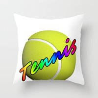 tennis Throw Pillows featuring Tennis by Jimbob1979