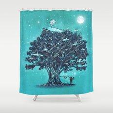 Deep Tree Diving  Shower Curtain