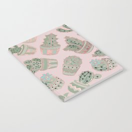 Blush pink mint green rose gold cactus floral Notebook
