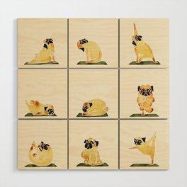 Pug Yoga Watercolor Wood Wall Art
