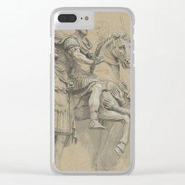 Vintage Marcus Aurelius on Horseback Illustration Clear iPhone Case