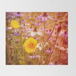 Vintage Summer Meadow Throw Blanket