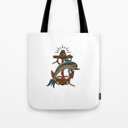 Dolphin with anchor and rope Tote Bag