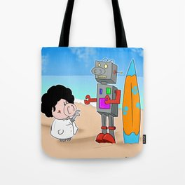 Oinkbot, the world's first surfing robot Tote Bag