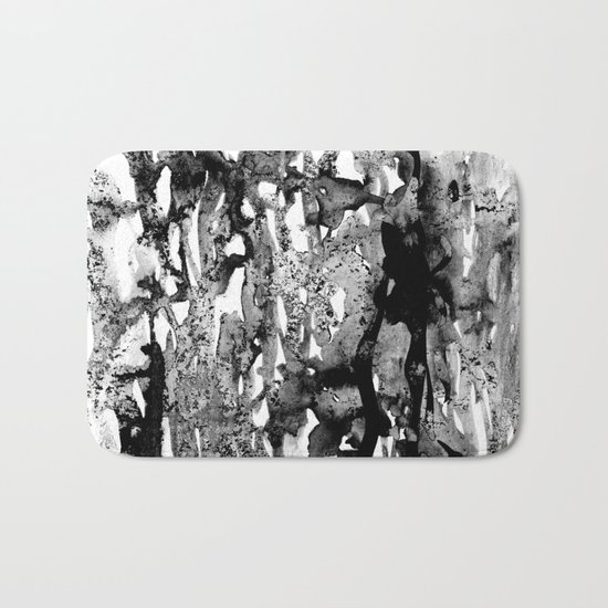Dexa - black and white minimal abstract painting brushstrokes artwork modern home decor piece Bath Mat
