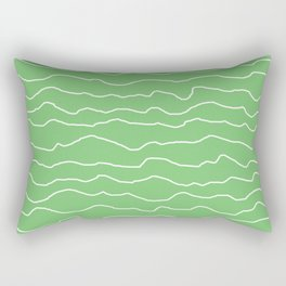 Green with White Squiggly Lines Rectangular Pillow