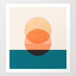 Abstraction_NEW_SUNSET_OCEAN_WAVE_POP_ART_Minimalism_0022D Art Print