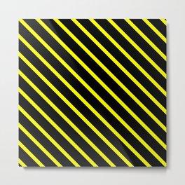 Neon Yellow Diagonal Stripes (Black) Metal Print