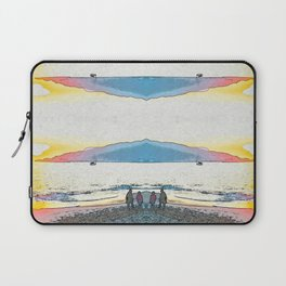 Pink and Blue Inverted Sunset at the beach Laptop Sleeve