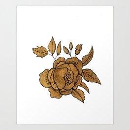 Rose in Gold Art Print