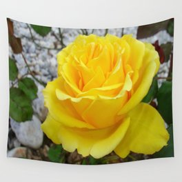 Beautiful Yellow Rose with Natural Garden Background Wall Tapestry