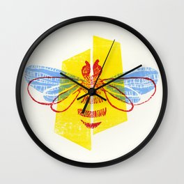 Be Safe - Save Bees linocut Wall Clock