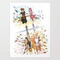 kingdom hearts Art Prints featuring One Sky - Kingdom Hearts by Tegan Nat