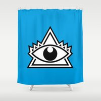third eye Shower Curtains featuring Third Eye by Diogo Rueda