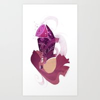 beauty and the beast Art Prints featuring Beauty and the Beast by Ann Marcellino