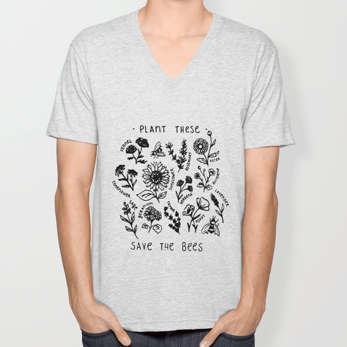 Plant these save the bees flowers t-shirt Unisex V-Neck