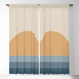 Minimal Retro Sunset / Sunrise - Ocean Blue Blackout Curtain
