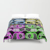 guinea pig Duvet Covers featuring I love Guinea pigs by Jane Holloway Designs