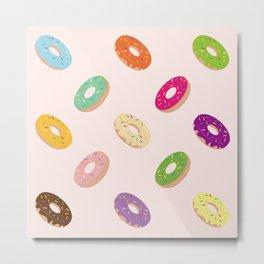 Donuts Pattern | Pastel Pink Metal Print