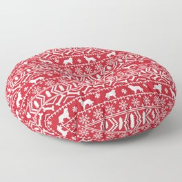 Bernese Mountain Dog fair isle christmas red and white pattern holiday dog breed gifts Floor Pillow