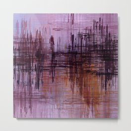 Purple / Violet Painting in Minimalist and Abstract Style Metal Print