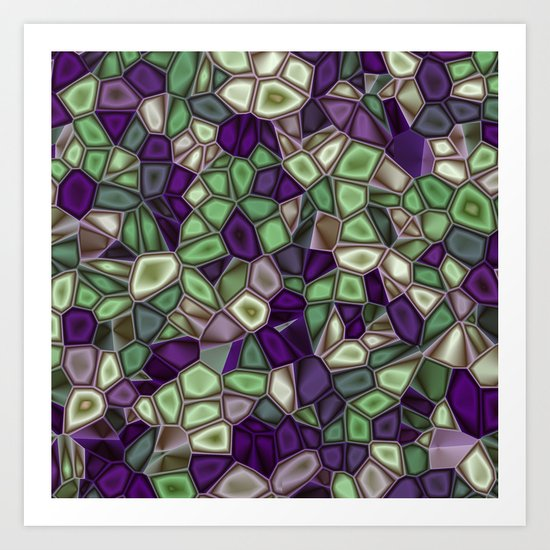 Fractal Gems 02 - Purples and Greens Art Print