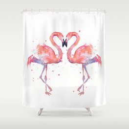 Pink Flamingo Love Two Flamingos Shower Curtain