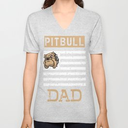 Mens Proud Pitbull Dad Shirt Unisex V-Neck