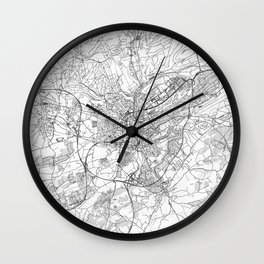 Luxembourg Map Line Wall Clock