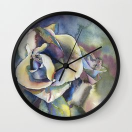 Rose fine art watercolor painting.  Fine art painting of rose Wall Clock