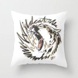 Wildcat Roar - Mountain Lion - Taupe Gray Throw Pillow