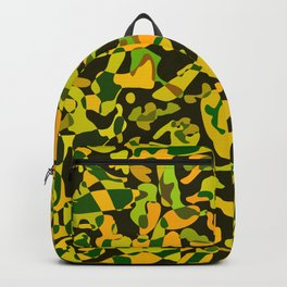 Intersecting delicate on colored spots and splashes of green paints. Backpack