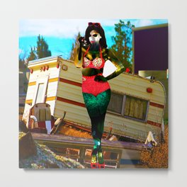 Sexy Christmas Comes Early to the Trailer Park Metal Print