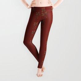Burgundy Red Floral Pattern Leggings