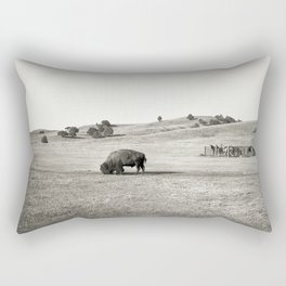 Free Bison, Penned Horses Rectangular Pillow