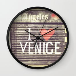 , Venice Beach, palm trees, vintage, oceanside, people,  beach photography Wall Clock