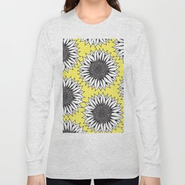 Yellow Sunflower in Black and White Hand Drawing Long Sleeve T-shirt