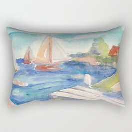 Sailing boat in sea drawing by watercolor Rectangular Pillow