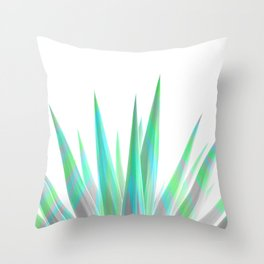 Tropical Allure - Green & Grey on White Throw Pillow