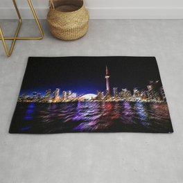 Toronto Nighttime Cityscape Landscape Painting by Jeanpaul Ferro Rug