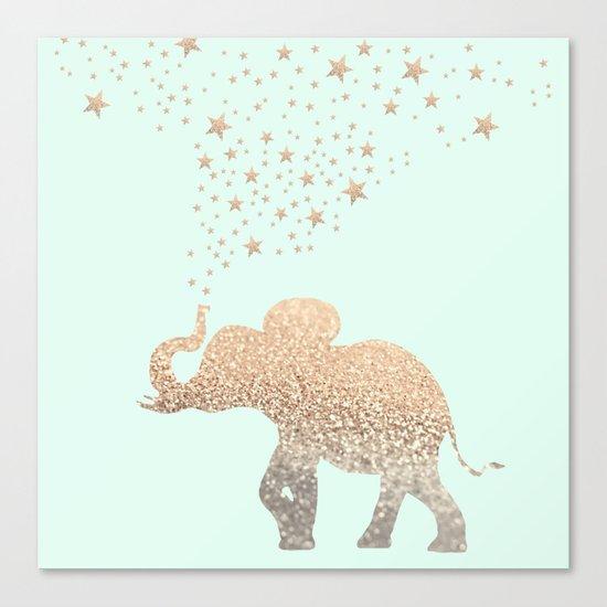 ELEPHANT - GOLD MINT Canvas Print