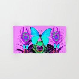 MYSTIC LILAC BLUE BUTTERFLIES PEACOCK ART Hand & Bath Towel