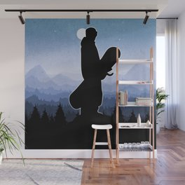 Snowboard Skyline Stand Wall Mural